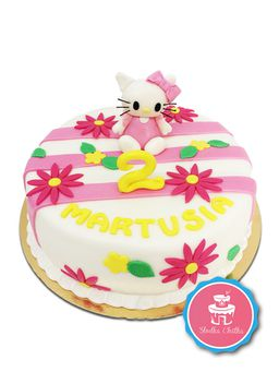 Tort z Hello Kitty - Tort z Hello Kitty i kwiatuszkami